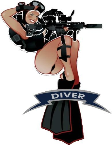 Military pin up girls. Diver